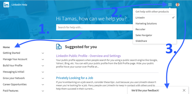 Linkedin Help Center főoldala