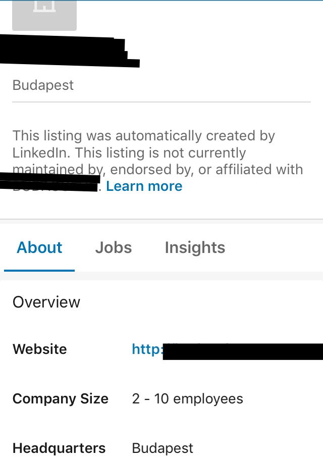 Linkedin Listings page
